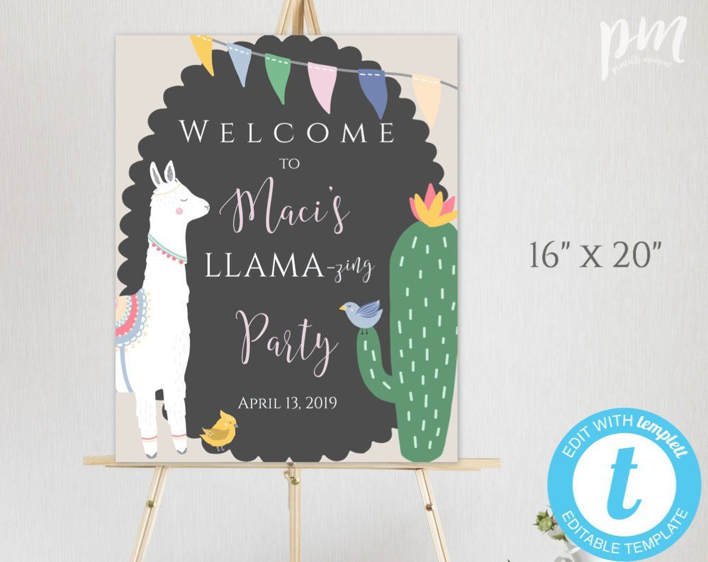 image about Welcome Signs Template identify Llama Birthday Welcome Signal Template, Welcome Birthday Decor
