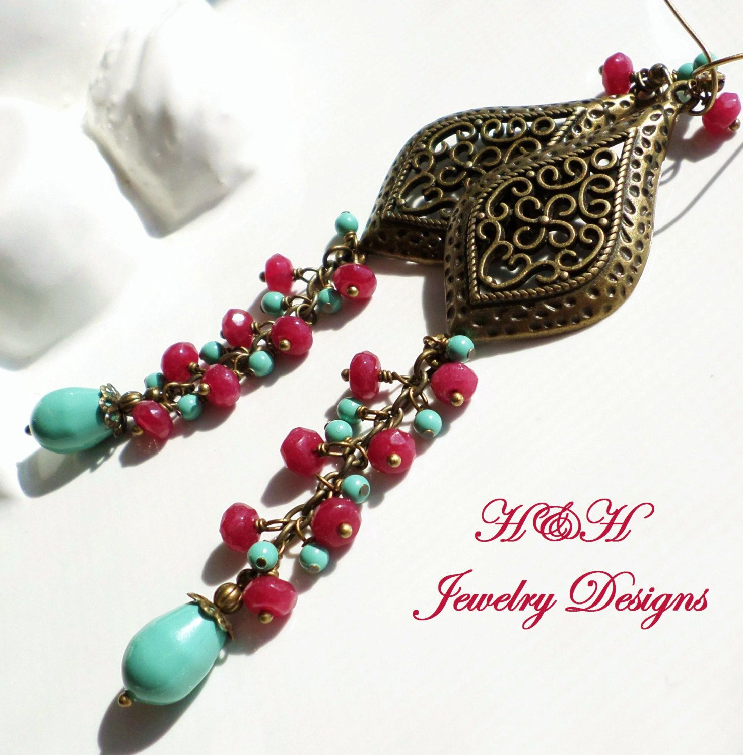 Brass Long Chandelier Earrings With Berry Colored Gems And Turquoise  Swarovski Pearls By Hhjewelrydesigns On Etsy