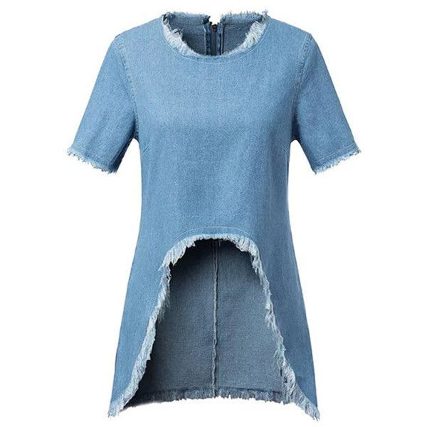 Leading Edge Denim Cut Away Tunic ($21) ❤ liked on Polyvore featuring tops, tunics, blue, round top, blue tunic, denim top, denim tunic and blue top