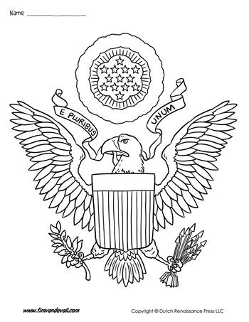 A coloring page of the USA Coat of Arms. This shield of