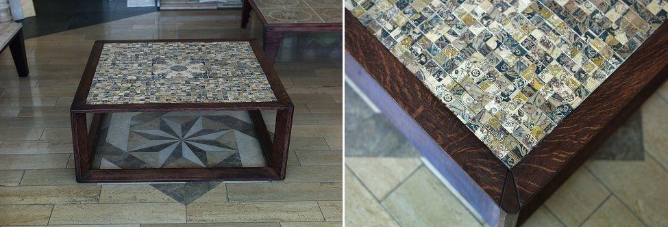 "Design table ""Mosaico Gianni""- is a combination of dark oak and mosaics ""Gianni"" made of natural Peruvian travertine.  Натуральный камень для интерьеров и экстерьеров. Дизайн студия. Мебель из камня и дерева"