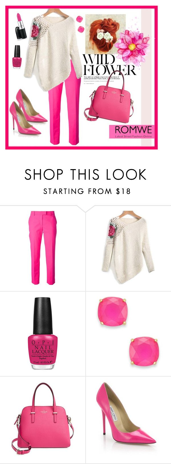 """wild pink flower"" by kimg-phd ❤ liked on Polyvore featuring Moschino Cheap & Chic, OPI, Kate Spade and Jimmy Choo"