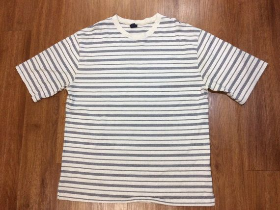 8c758b6ca69802 Vintage 90s striped t shirt mens xl guess jeans inspired stripes grey white
