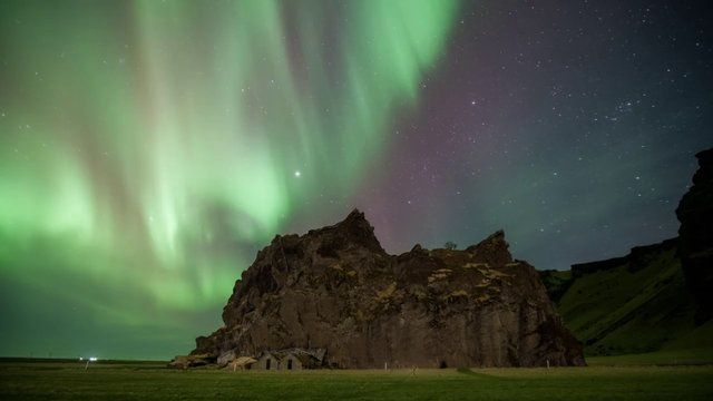 Time Lapse of Aurora activity just outside of Vik in Southern Iceland.