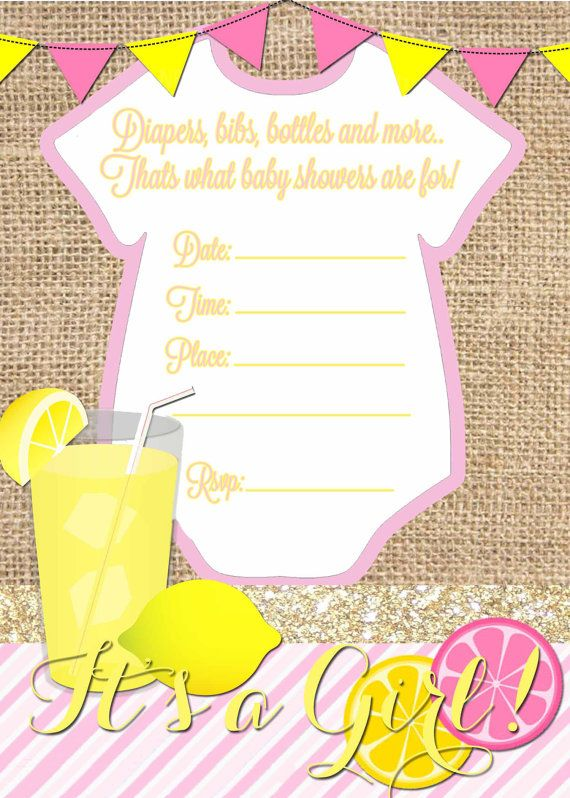 Pink Lemonade Baby Shower Invitation Download by ThePartyGrl08