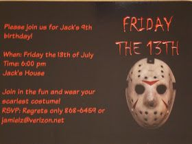 friday the 13th party invitations f13 in 2018 pinterest