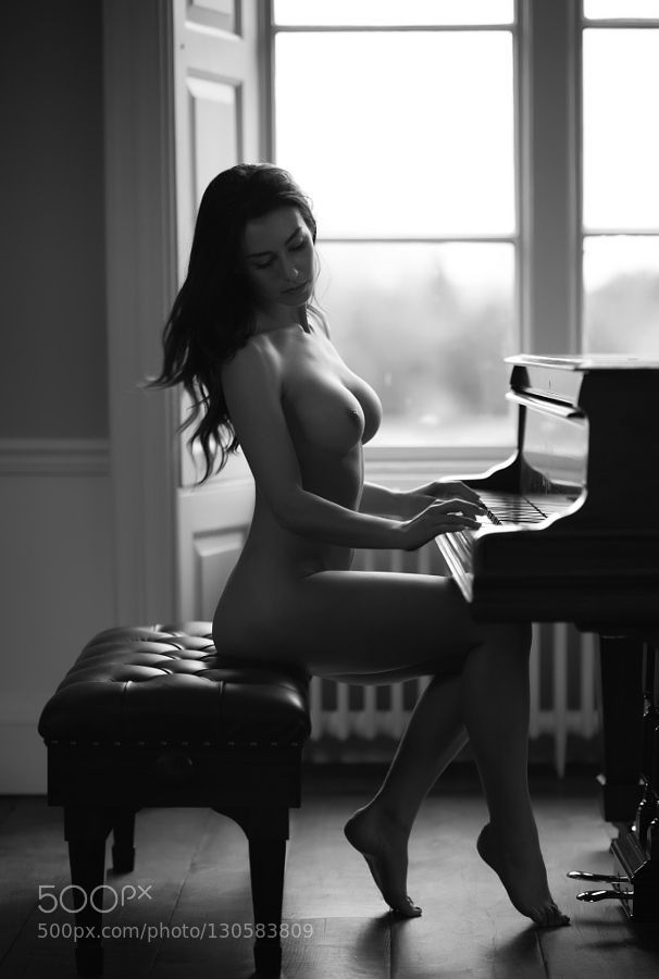 Black and white photos nude women playing piano think