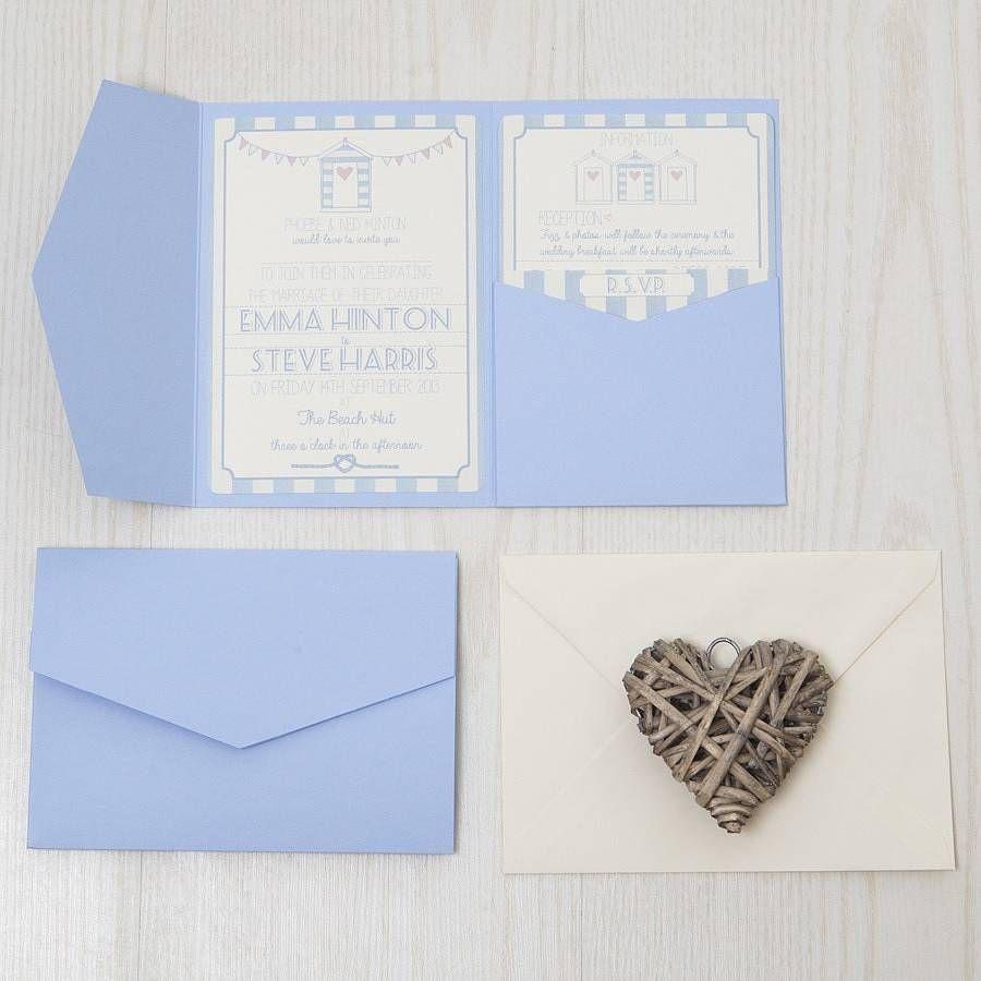 Pocketfold Beach Hut Wedding Invitation | Beach huts, Wedding beach ...