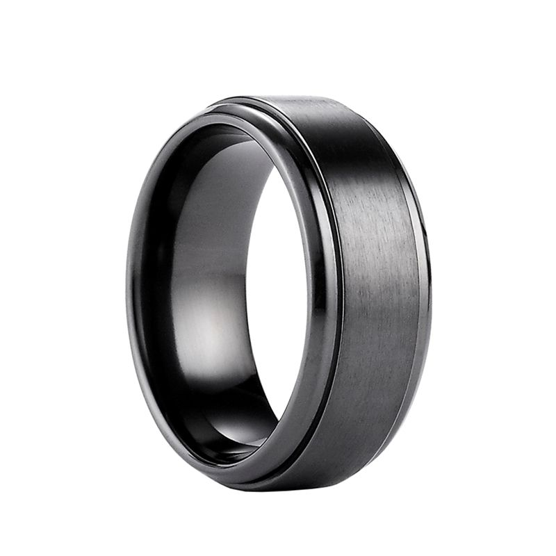 Doyle Black Anium Wedding Ring With Raised Satin Center By Benchmark