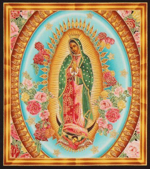 Beautiful colourful Virgin Mary fabric Robert Kaufman. La Virgen de Guadalupe.