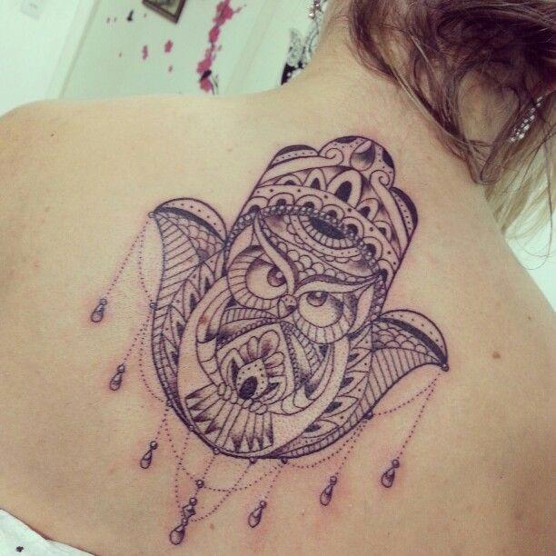 Good Luck Elephant Tattoo: Owl Hamsa - Good Luck And Protection