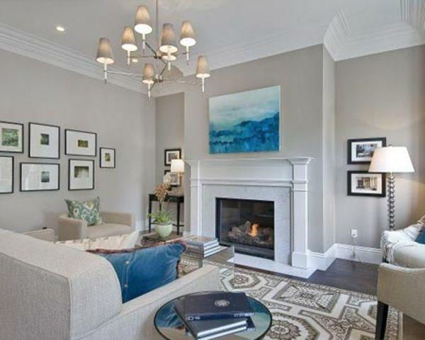 peinture taupe grise foyer blanc contemporain