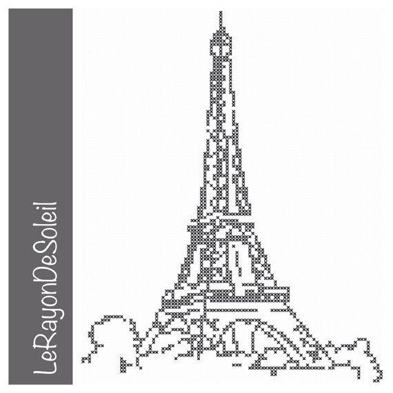Paris tower, Eiffel Tower cross stitch pattern Paris