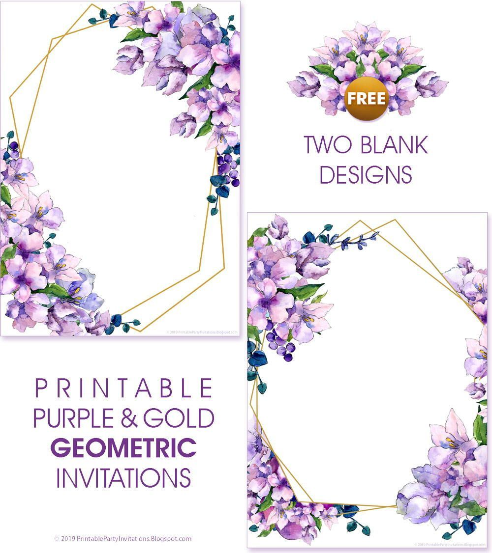 Printable Purple Watercolor Wedding Invitations Watercolor