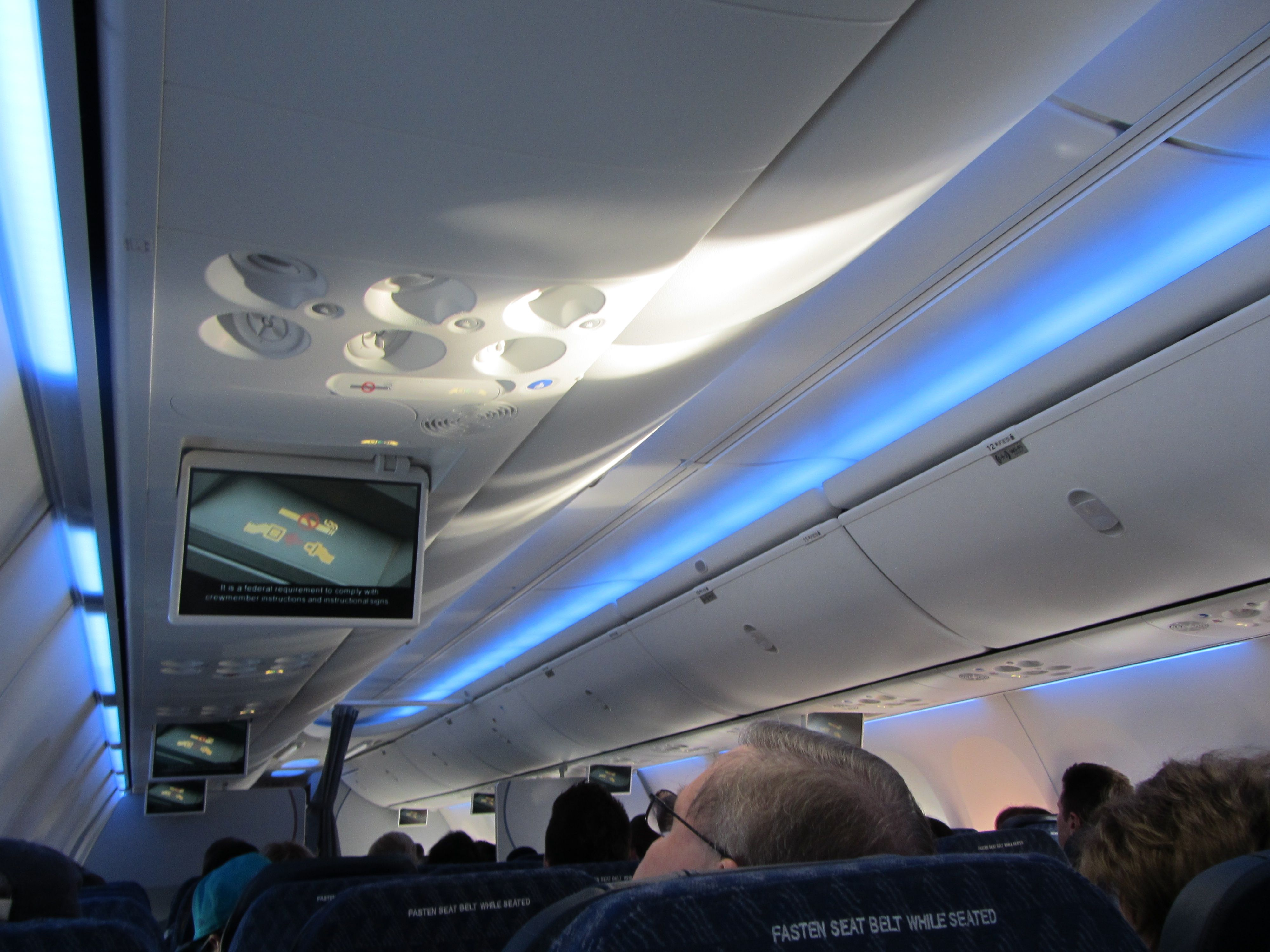 Another view of the Boeing Sky Interior on an American Airlines 737 ...