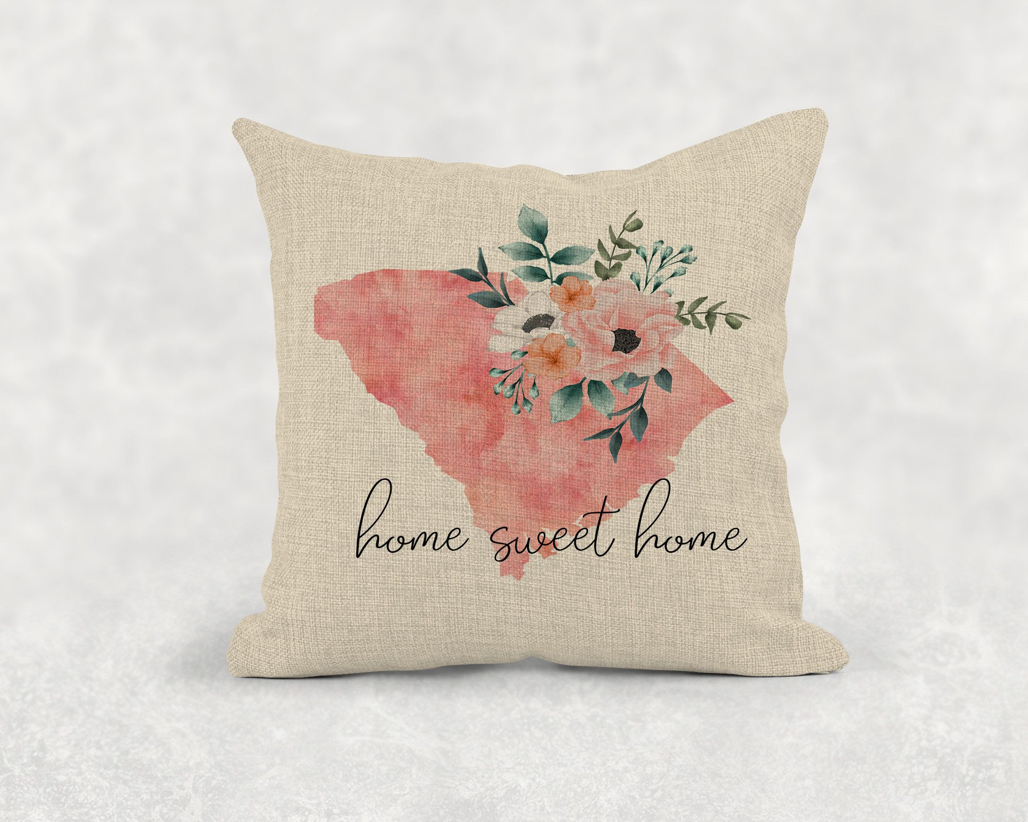 Home Sweet Home Pillow Cover State Pillow New
