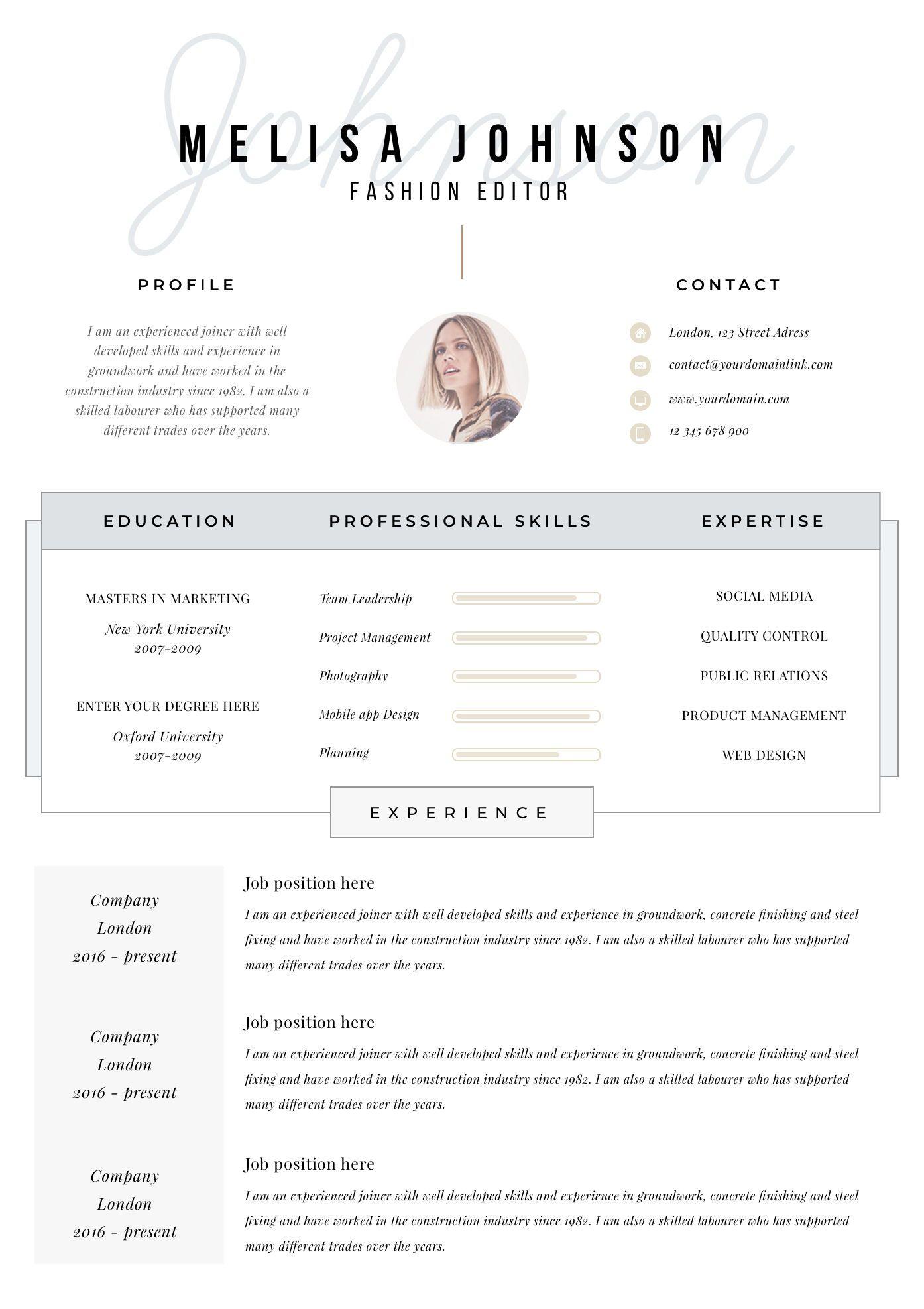 Resume Template Resume Cv Template Cv Design Curriculum Vitae Cv Instant Download Resume Resume Templates Cv Amsterdam Resume Template Resume Templates Cv Template