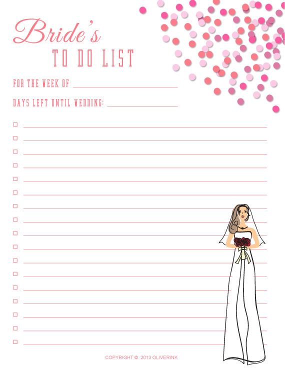 Printable Bride To Do List Instant Digital Wedding 8 5 X 11 Pdf