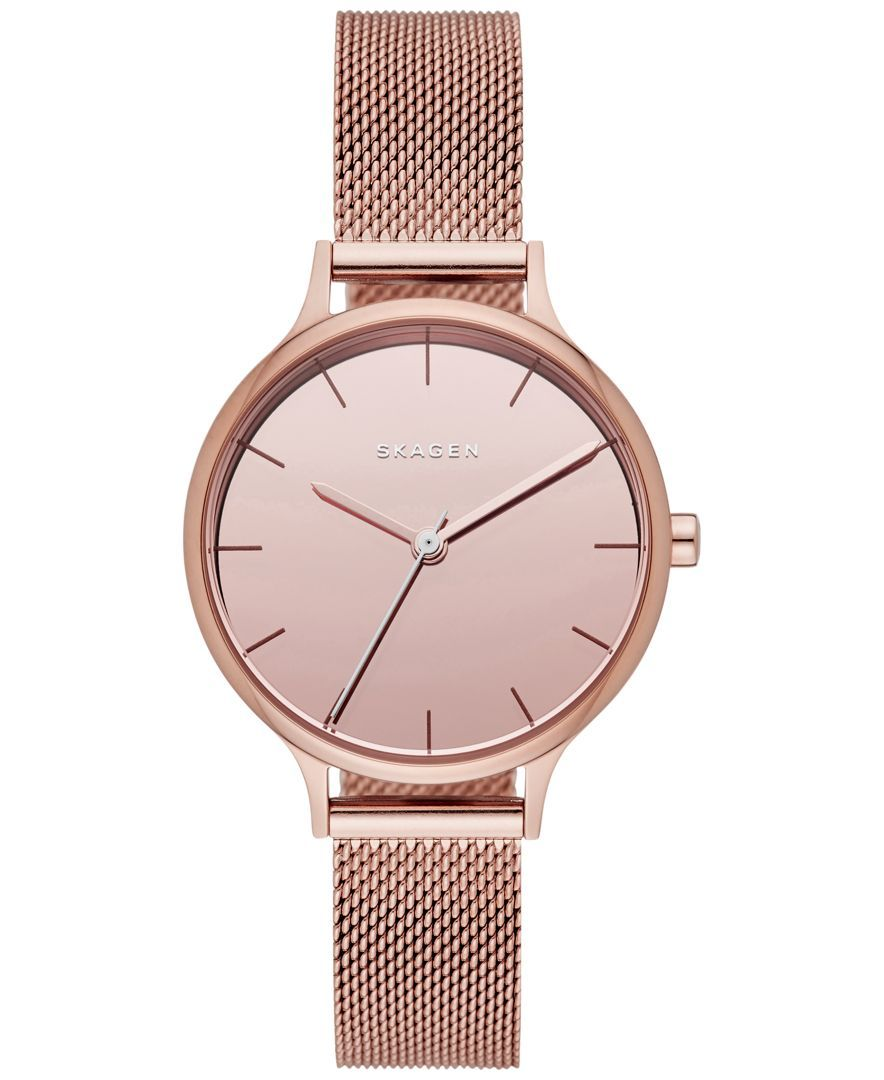 34eb02c0566 Skagen Women s Anita Rose Gold-Tone Stainless Steel Mesh Bracelet Watch  30mm SKW2413
