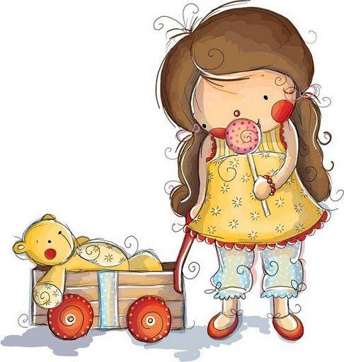 dibujos de niñas con sus muñecos para imprimir , encantadores ...