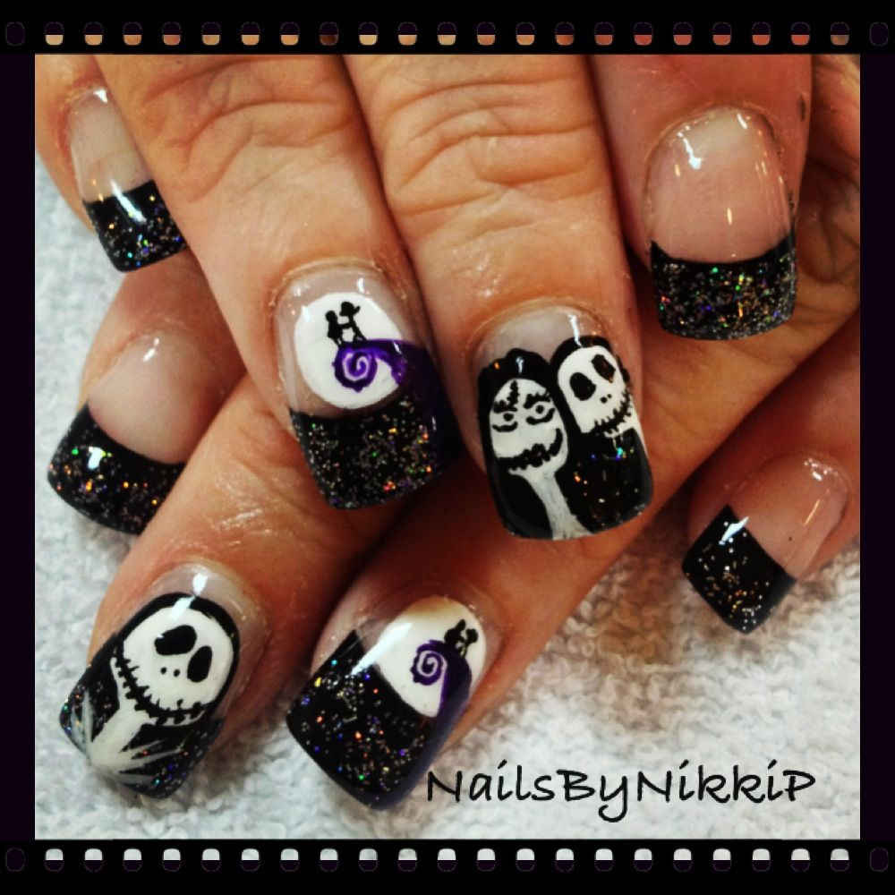 Jack and Sally nails | Nails By Nikki P | Pinterest | Sally and Fun ...