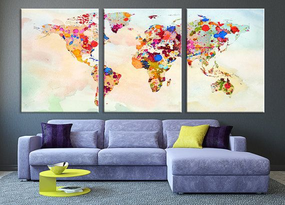 art canvas print world map paint splashed canvas art print vintage world map art