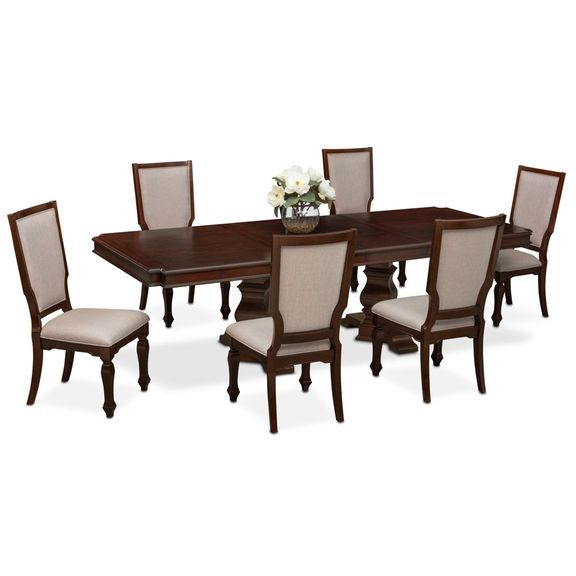 Vienna Dining Table and 6 Upholstered Dining Chairs | Dining ...