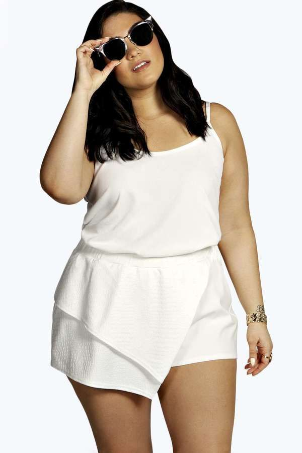 6a7a0b28d984e Nadia Aboulhosn Plus Size Collection at Boohoo. Plus Size Embossed  Asymmetric Skort