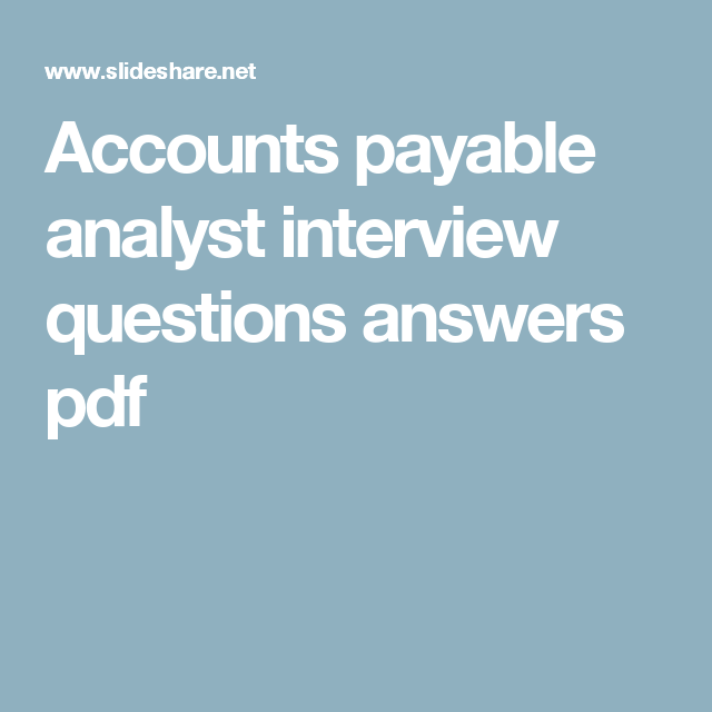 Accounting Interview Questions Answers Pdf