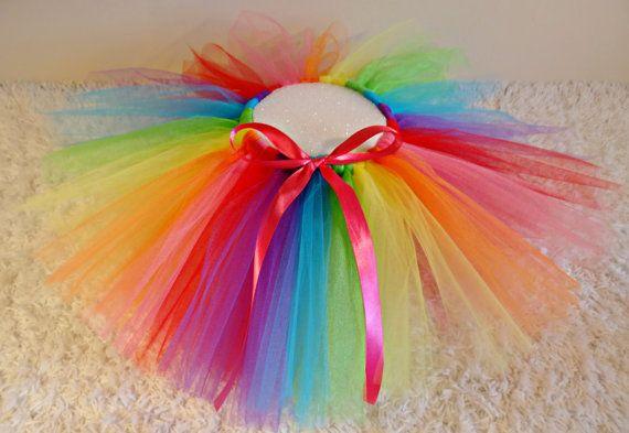 Rainbow Tutu Multi Colored Tutu Rainbow Bright by LeinaBugBoutique