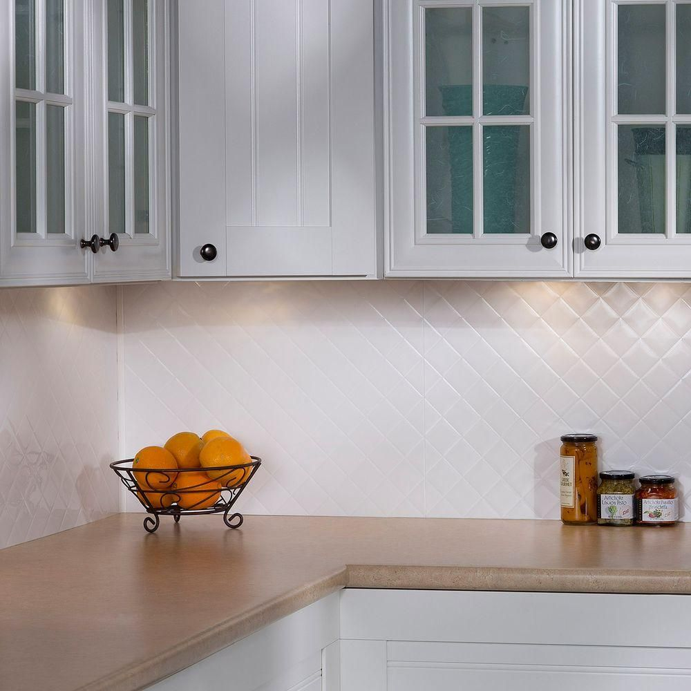 Quilted Pvc Decorative Backsplash Panel In Gloss White B54 00 The Home Depot