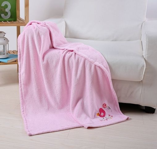 Embroidery Baby Blanket Pink