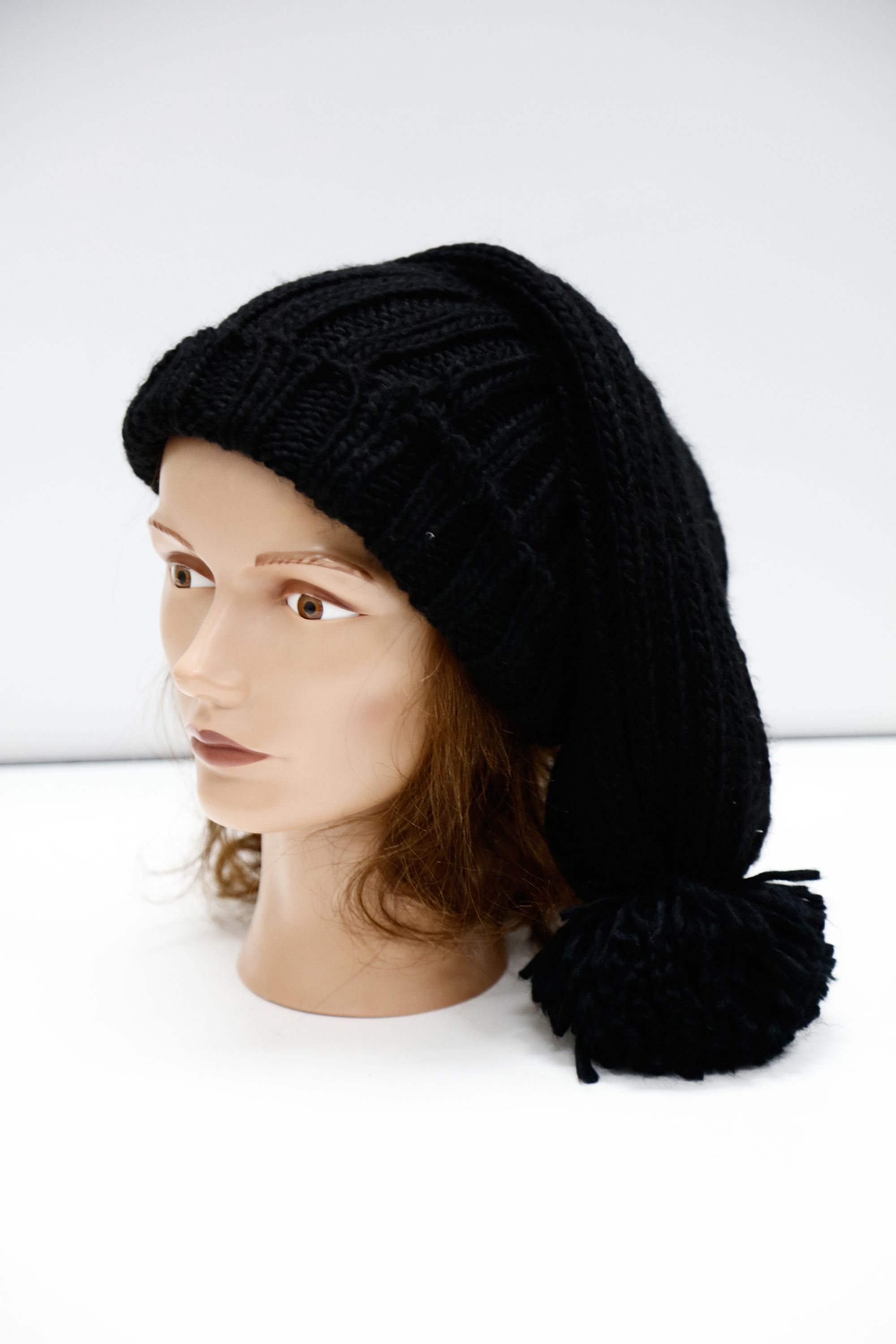 Large Black Slouchie Beanie with Puff  A6251578  A6251735 ... 09dcfaf3602