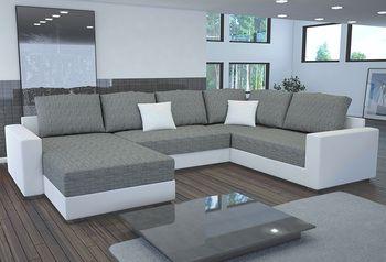 canap d 39 angle convertible design en tissu et pu polyur thane massimo blanc et gris chin ou. Black Bedroom Furniture Sets. Home Design Ideas