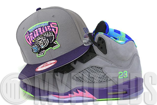 d84655aeb3d Vancouver Grizzlies Wolf Storm Gray Concord Fresh Prince of Bel Air Air  Jordan V Matching New Era Snapback Hat