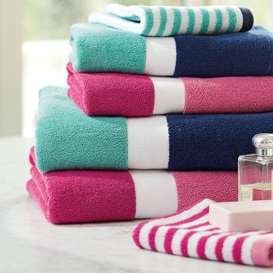 Color Block Bath Towels, Girl, Pink Magenta/Bright Pink