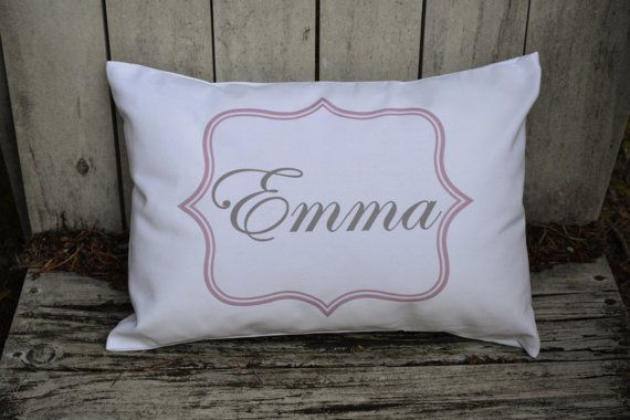 Personalized baby pillow, Girls baby gift, boys baby gift, nursery gift, newborn gift, girls pillow name pillow pink and grey baby gift idea