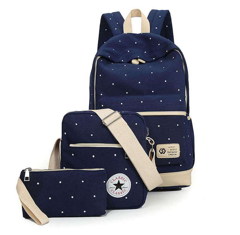 Fresco Da Lona Mulheres Mochila menina grande livro estudante saco com bolsa laptop 3 pcs conjunto senhoras bolsa de alta qualidade saco de escola para o adolescente