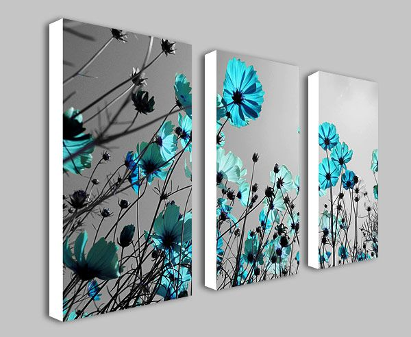Teal Flowers Floral Split Panel Deep Framed Canvas Wall Art Print Picture