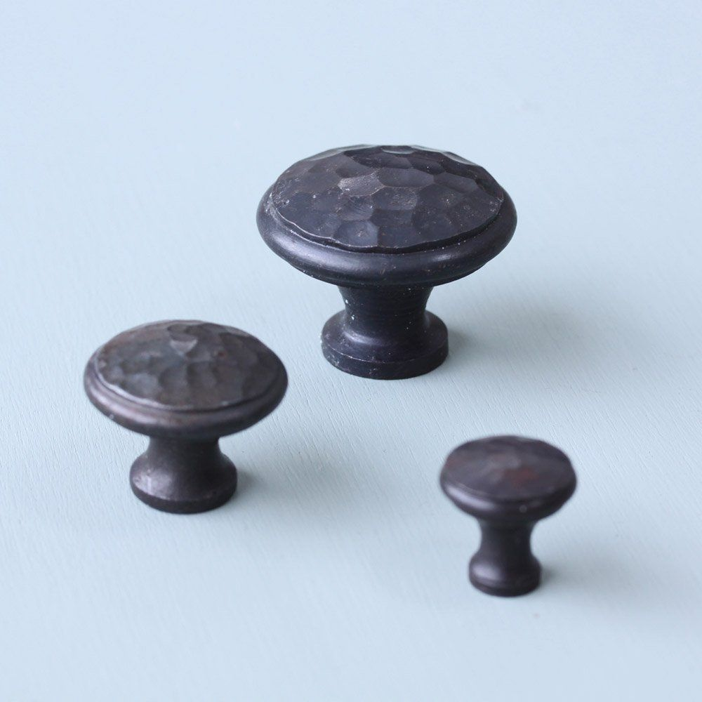 Forged Black Beeswax Beaten Cabinet Knobs