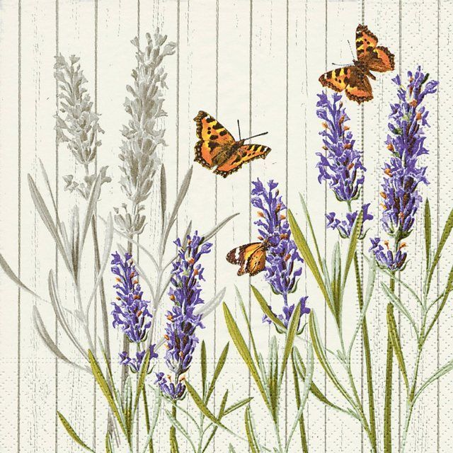 Serviette 'Lavendel & Schmetterlinge'