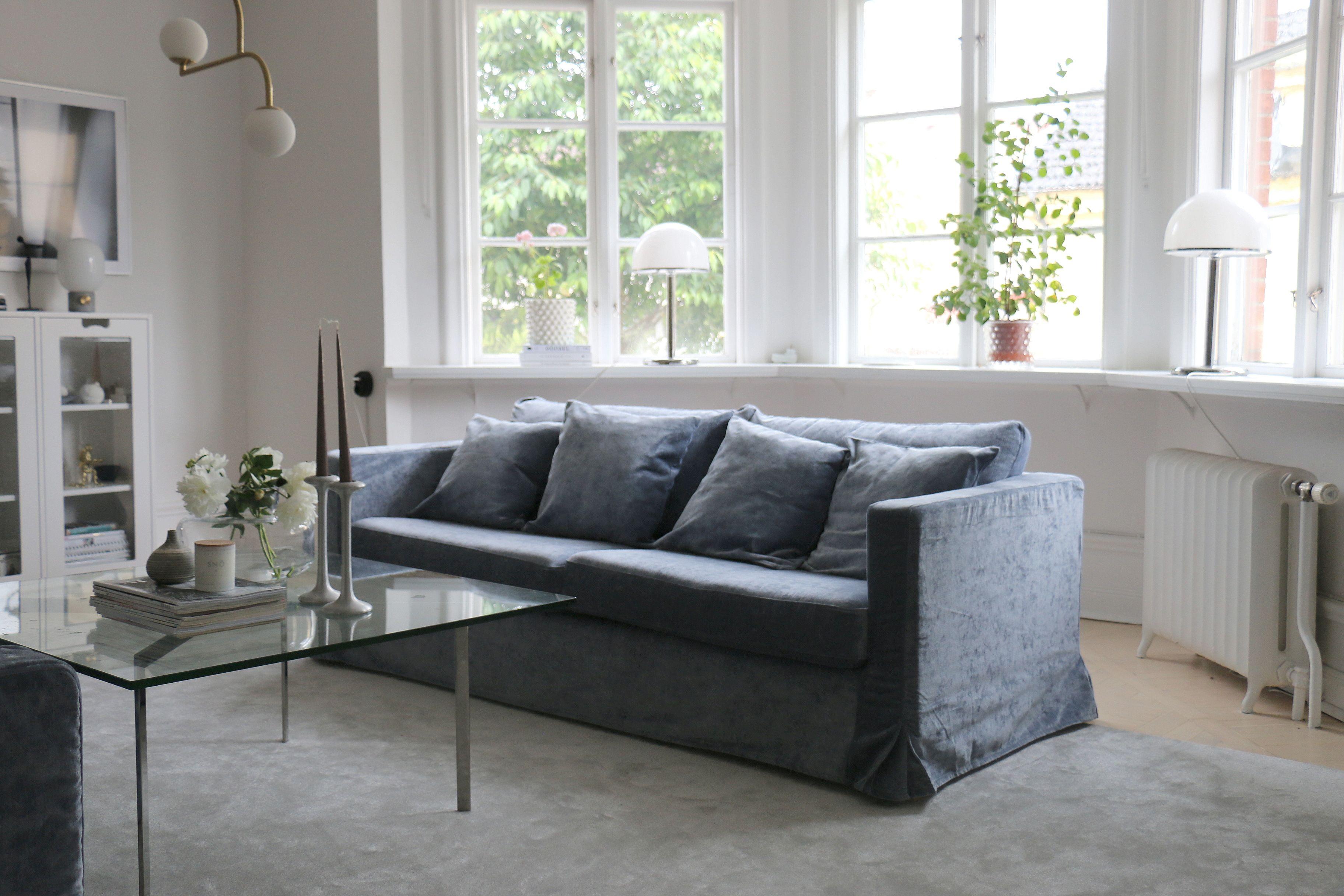 Starwoman1 S Gorgeous Living Room Scandinavian Living Room With A Blue Velvet Sofa Ikea Karlstad So Living Room Scandinavian Living Room Scandinavian Sofas