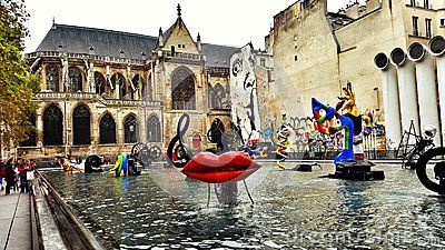 Centre Pompidou Stravinsky fountain Editorial Stock Photo