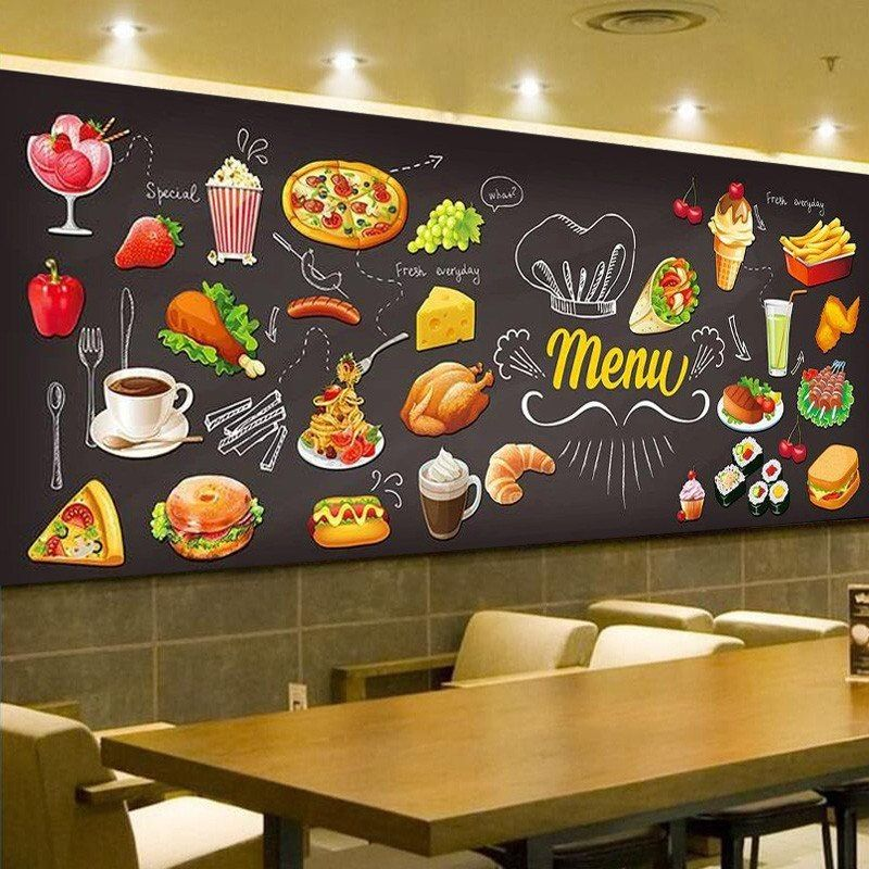 Custom Wall Mural Pizza Shop Hand Painted Abstract Pizza