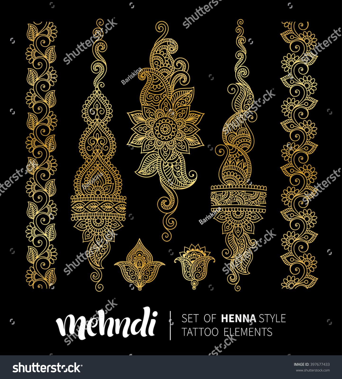 Traditional Indian Style Interior Design: Vector Illustration Of Golden Mehndi Pattern. Traditional