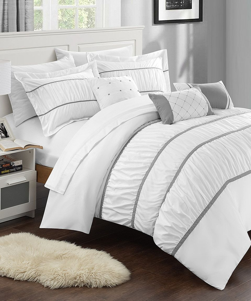 This White Calliope 10 Piece Comforter Set By Chic Home Design Is