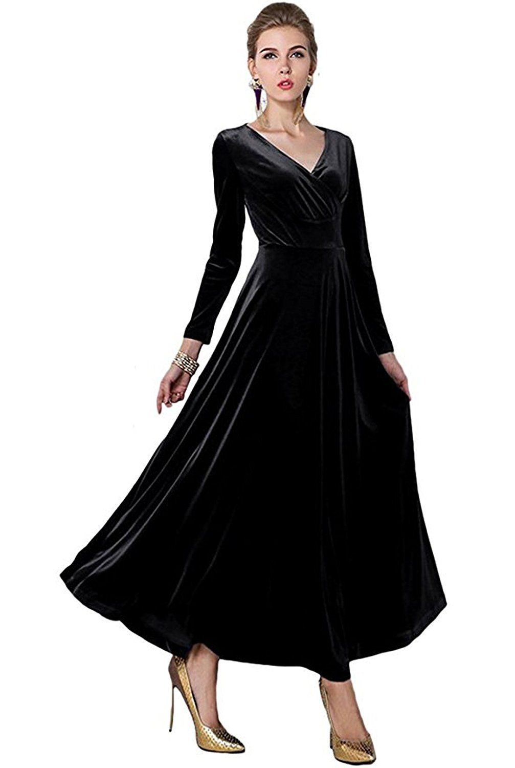 Rvivimos women long sleeve vneck velvet stretchy long dress at