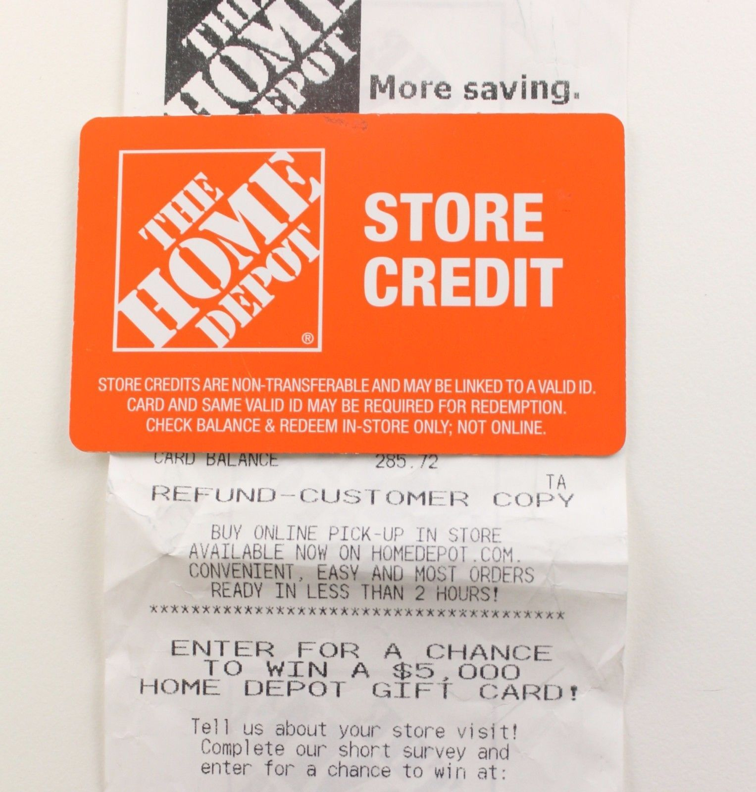 Coupons GiftCards Home Depot Store Credit 285.72