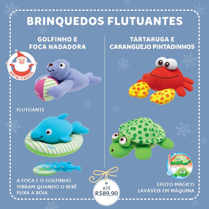 Os brinquedos flutuantes da Chicco são ideais para o momento do banho ou piscina. O caranguejo e a tartaruga além de entreterem o bebê, também são muito úteis para testar a temperatura da água, já que suas pintinhas somem quando a água está quente.  E o golfinho e a foca vibram quando o bebê puxa a bóia salva-vidas, criando uma brincadeira divertida.  A Chicco acompanhando seus pequenos em todos os momentos! <3