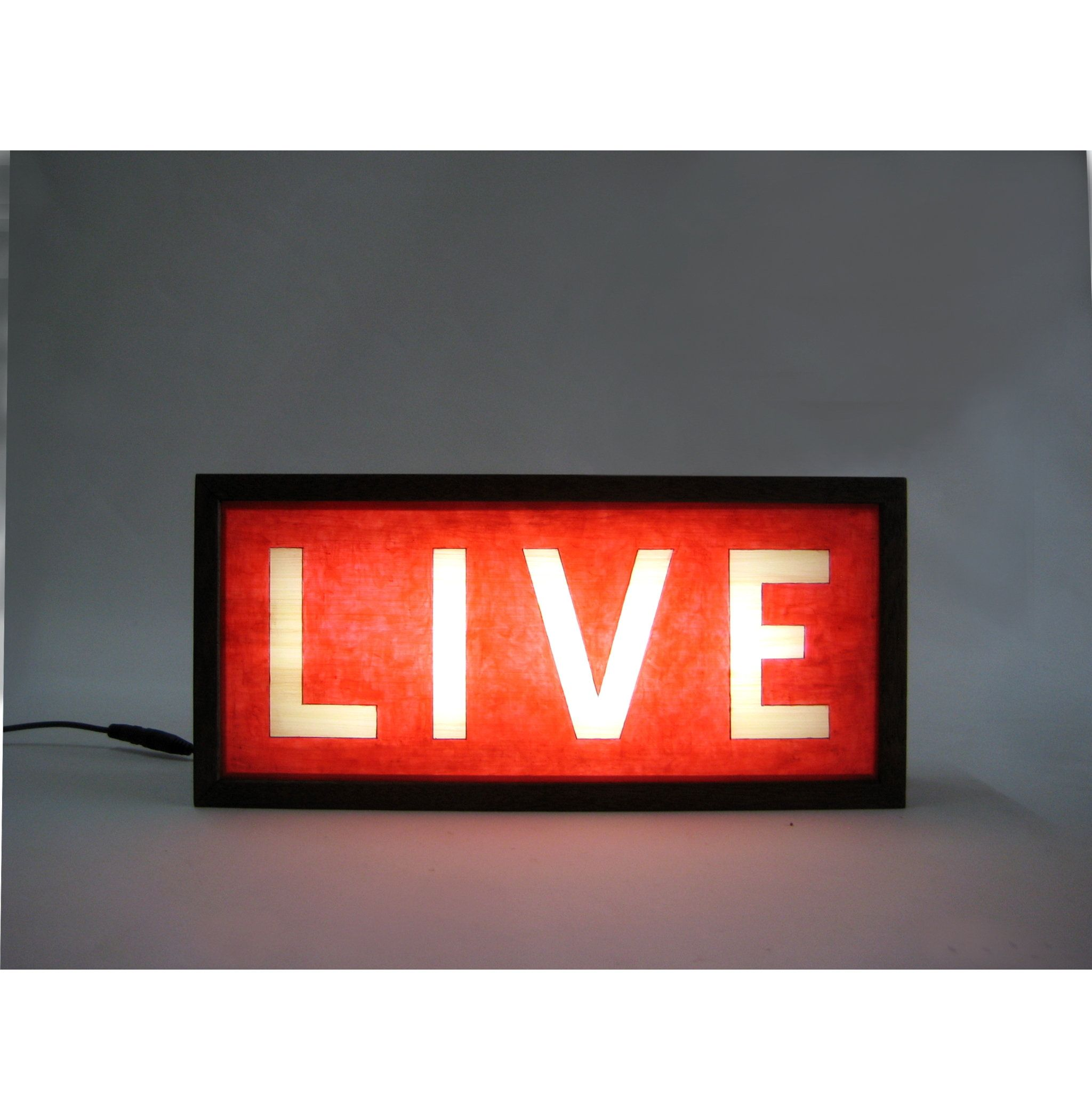LIVE Wooden Lightbox Sign, Lighted Hand Painted Signs